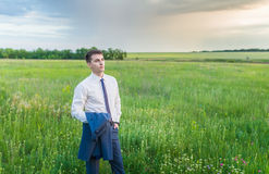 Businessman is working in the nature Royalty Free Stock Photography