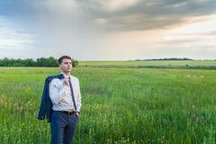 Businessman is working in the nature Stock Photos
