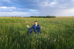 Businessman is working in the nature Stock Images