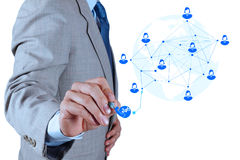 Businessman working with new modern computer show. Service network structure as concept royalty free stock image