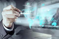 Businessman working with new modern computer show social network. Double exposure of businessman working with new modern computer show social network structure Royalty Free Stock Photo