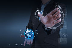 Businessman working with new modern computer show social network. Businessman hand working with new modern computer show social network structure as concept royalty free stock image