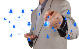Businessman working with new modern computer show social network. Structure Royalty Free Stock Images