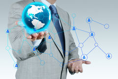 Businessman working with new modern computer show social network. Structure Royalty Free Stock Photo
