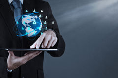 Businessman working with new modern computer show social network Stock Photography