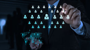 Businessman working with new modern computer show social network. Structure Royalty Free Stock Image
