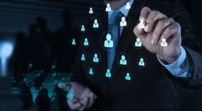 Businessman working with new modern computer show social network. Structure Stock Photography
