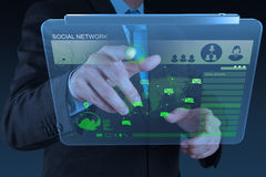 Businessman working with new modern computer show. Social network structure as concept royalty free stock images