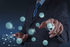 Businessman working with new modern computer show. Social network structure as concept royalty free stock photos
