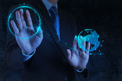 Businessman working with new modern computer show social network. Structure as concept stock images