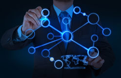 Businessman working with new modern computer show social network. Structure as concept Royalty Free Stock Photos