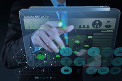 Businessman working with new modern computer show social network. Structure as concept Stock Photo