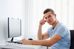 Businessman working in the office Stock Images