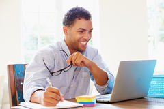 Businessman Working In Office At Home Stock Photography