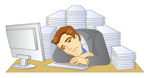 Businessman. Working in office. In the workplace. A pile of documents. Frustrated and tired man. Vector illustration Stock Photos