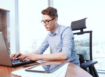 Businessman Working On Computer In Office Stock Image