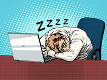Free Businessman Working On Laptop Fatigue Sleep Royalty Free Stock Photography - 64378437
