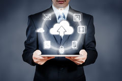 Businessman working ondigital object cloud computing concept Stock Image