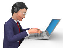 Businessman Working Online Indicates World Wide Web And Biz Royalty Free Stock Image