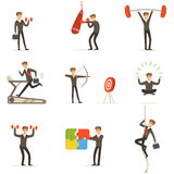 Businessman Working Out In Gym, Metaphor Of Business Preparation Training Set Of Illustrations Royalty Free Stock Image
