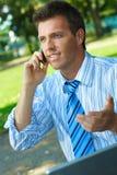 Businessman working outdoor Stock Photos
