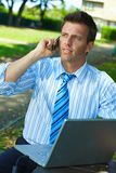 Businessman working outdoor Stock Images