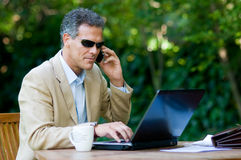 Businessman working outdoor Royalty Free Stock Images