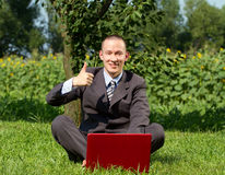 Businessman Working Outdoors Royalty Free Stock Image