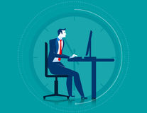 Businessman working overtime on the computer. Concept business illustration. Vector flat Royalty Free Stock Images