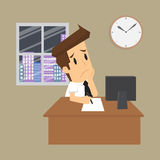 Businessman working overtime Royalty Free Stock Photos