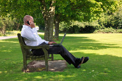 Businessman working in the park Stock Photography