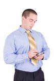 Businessman working with PDA Stock Image