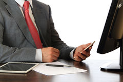Businessman at working place Royalty Free Stock Photo