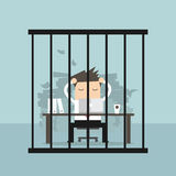 Businessman working in the prison. Stock Photography