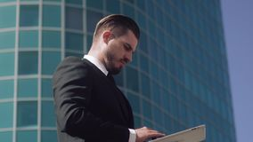 Businessman in working process. High-angle shot stock footage