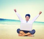 Businessman Working Success Beach Vacation Concept Stock Photos