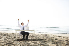 Businessman Working Success Beach Vacation Concept Stock Photos