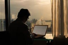 Businessman working at sunset Royalty Free Stock Photos