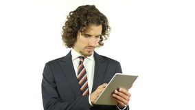 Businessman working on tablet computer. +++ , creative designer , curly hair man  , businessman stock footage