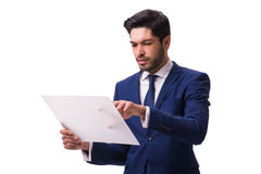 The businessman working on tablet isolated on the white background Stock Photo