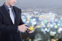 Businessman working with tablet new modern computer show social Royalty Free Stock Photo