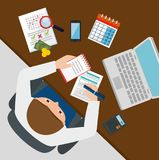 Businessman working with tax set icons. Vector illustration design Stock Photo