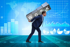 The businessman working too hard in business concept Royalty Free Stock Photo