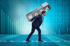 The businessman working too hard in business concept Stock Photo