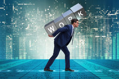 The businessman working too hard in business concept Royalty Free Stock Images