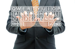 Businessman working with touchscreen keyboard Royalty Free Stock Image