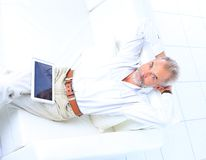 Businessman working and using a tablet Royalty Free Stock Images
