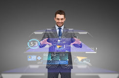 Businessman working with virtual gps navigator map. Business, technology and people concept - smiling businessman working with virtual gps navigator map Stock Photo