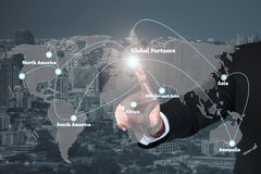 Businessman working with virtual interface global partners graph stock photos