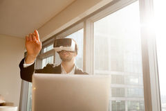 Businessman working with virtual reality glasses Royalty Free Stock Images